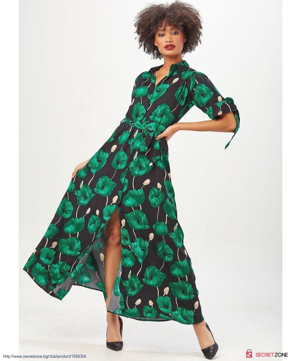 b960abb34fe Дълга рокля в зелен цвят от Zibi London   Secretzone.bg