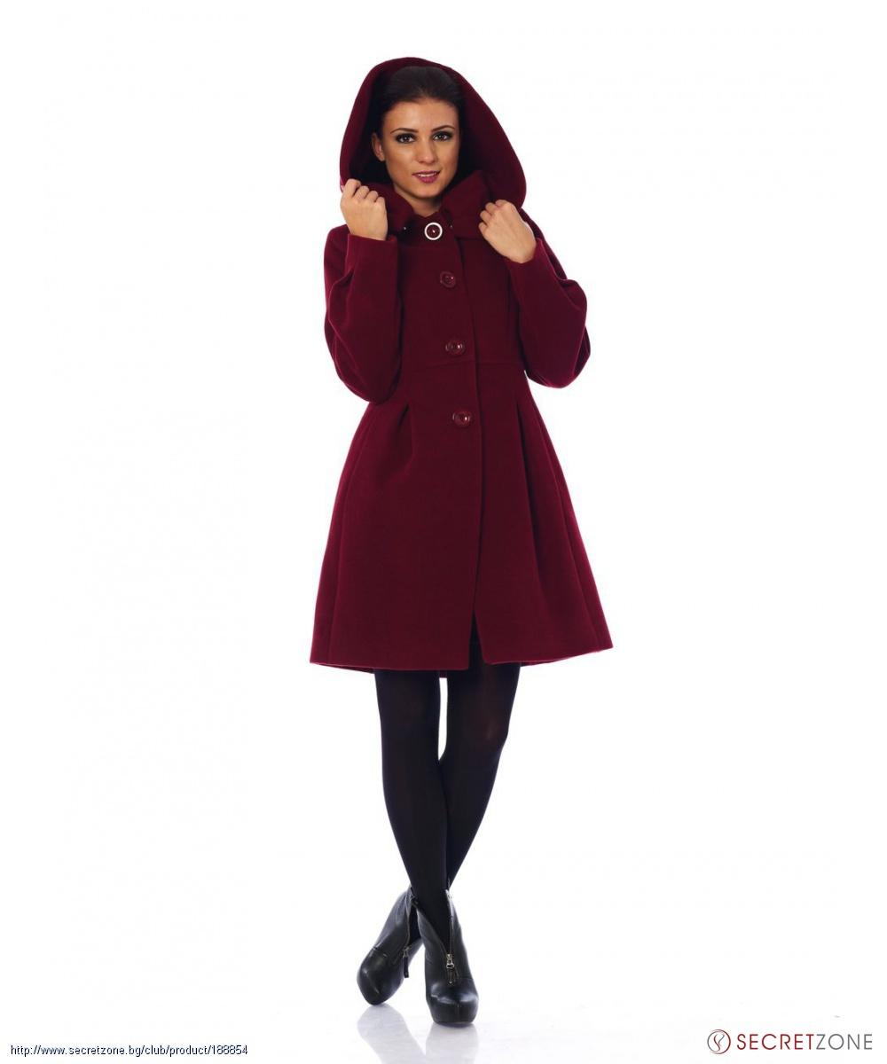 0edd14891d3 Дамско палто в цвят бордо с качулка от 4Lilou | Secretzone.bg