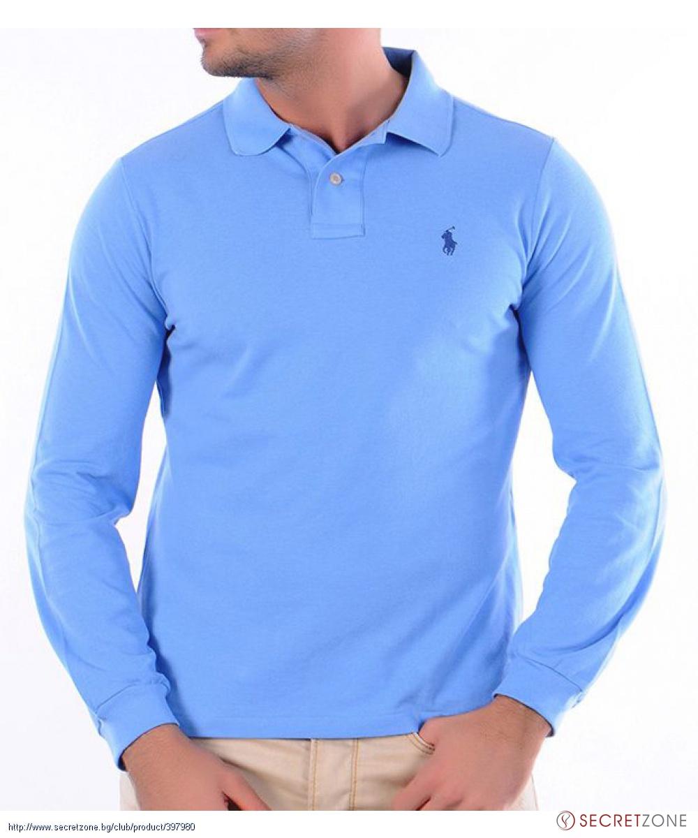 13e3f1c85c5 Поло блуза в светлосиньо с бродирано лого от Ralph Lauren ...