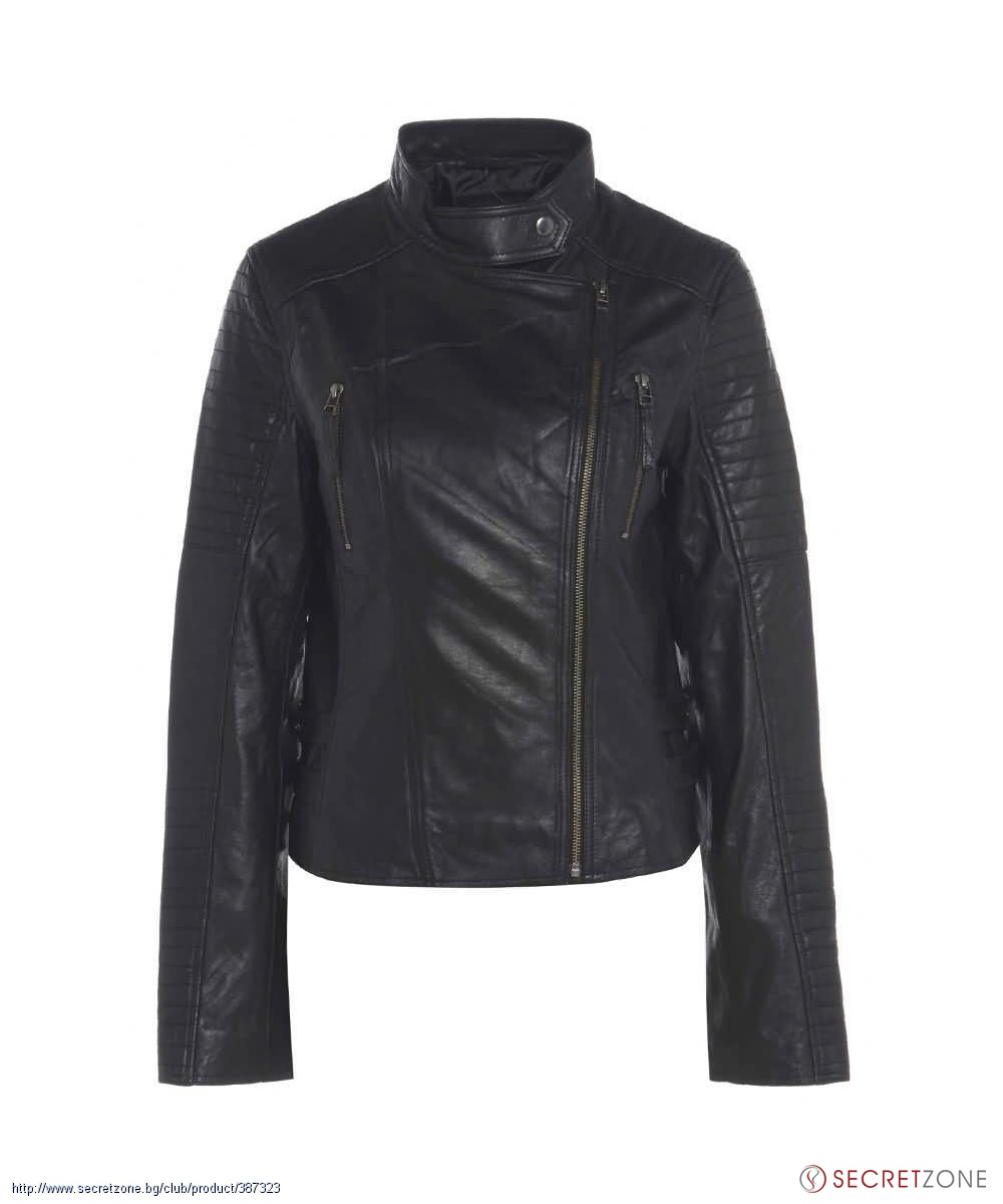 Стилно дамско кожено яке в черно от Barneys