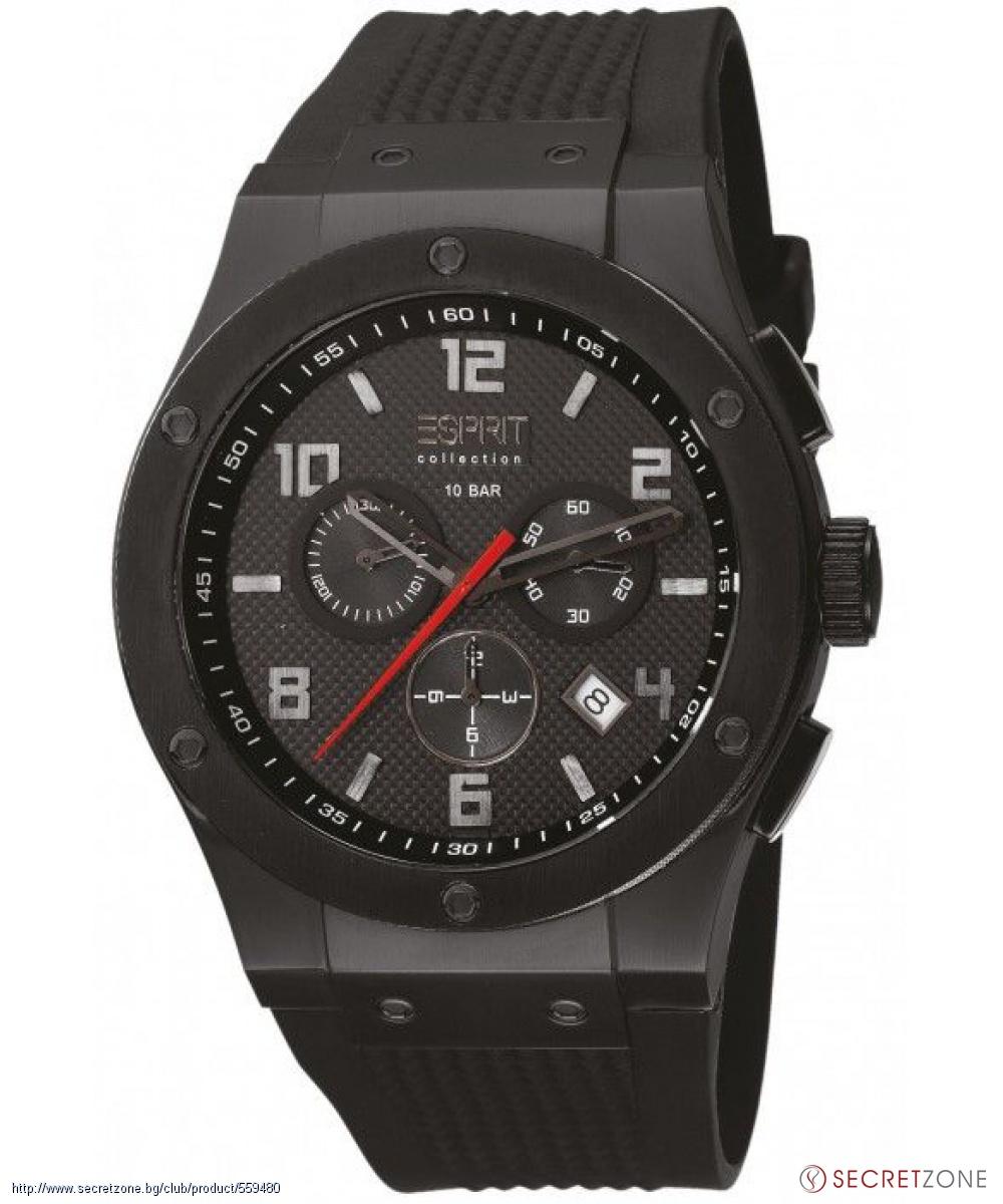 Часовник Esprit в черен цвят с гумена каишка