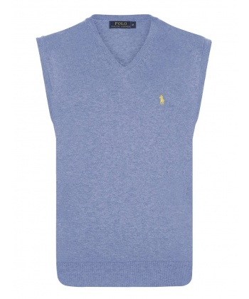 f07432403d9 Пуловер без ръкави в синьо с жълто лого Ralph Lauren | Secretzone.bg