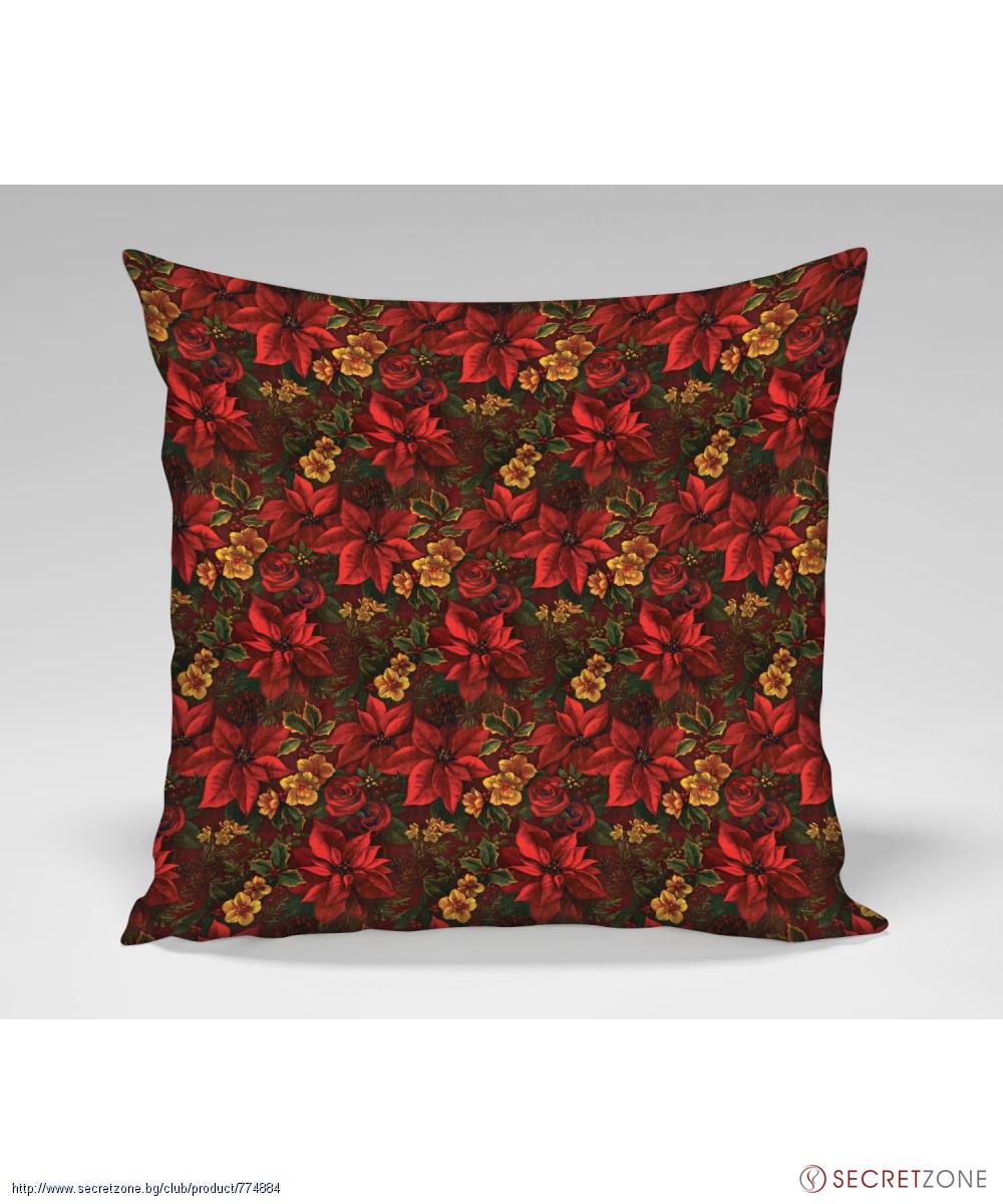 Декоративна възглавница Living Design с принт коледни цветя
