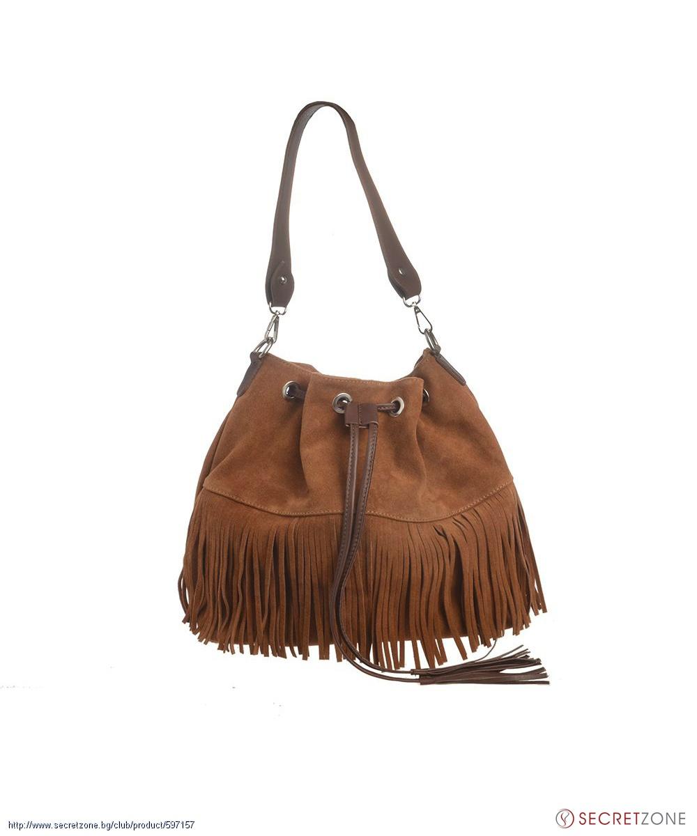 Велурена чанта в меден нюанс с ресни от Valentina Italy