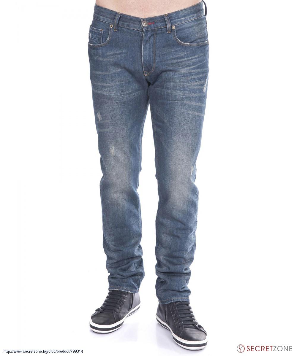 Сини мъжки дънки от Tommy Hilfiger с износен ефект