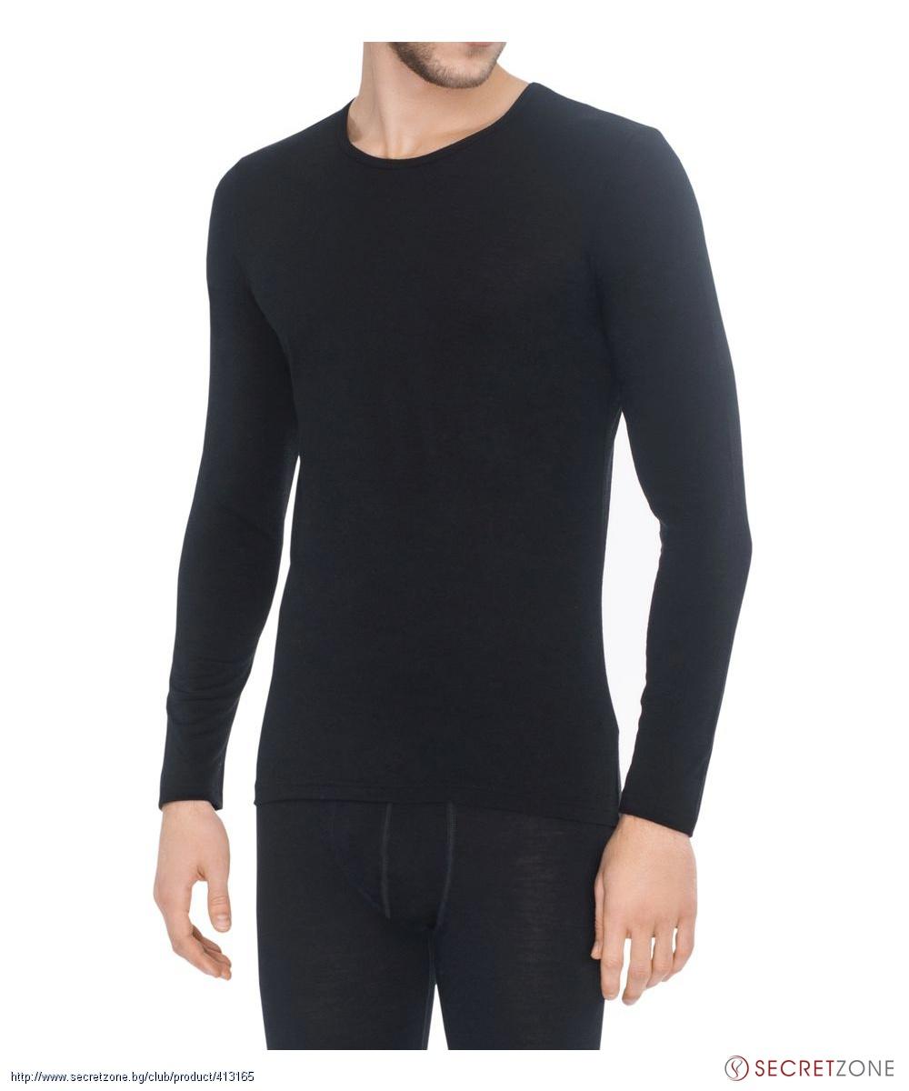 Вълнена мъжка блуза в черен цвят от About