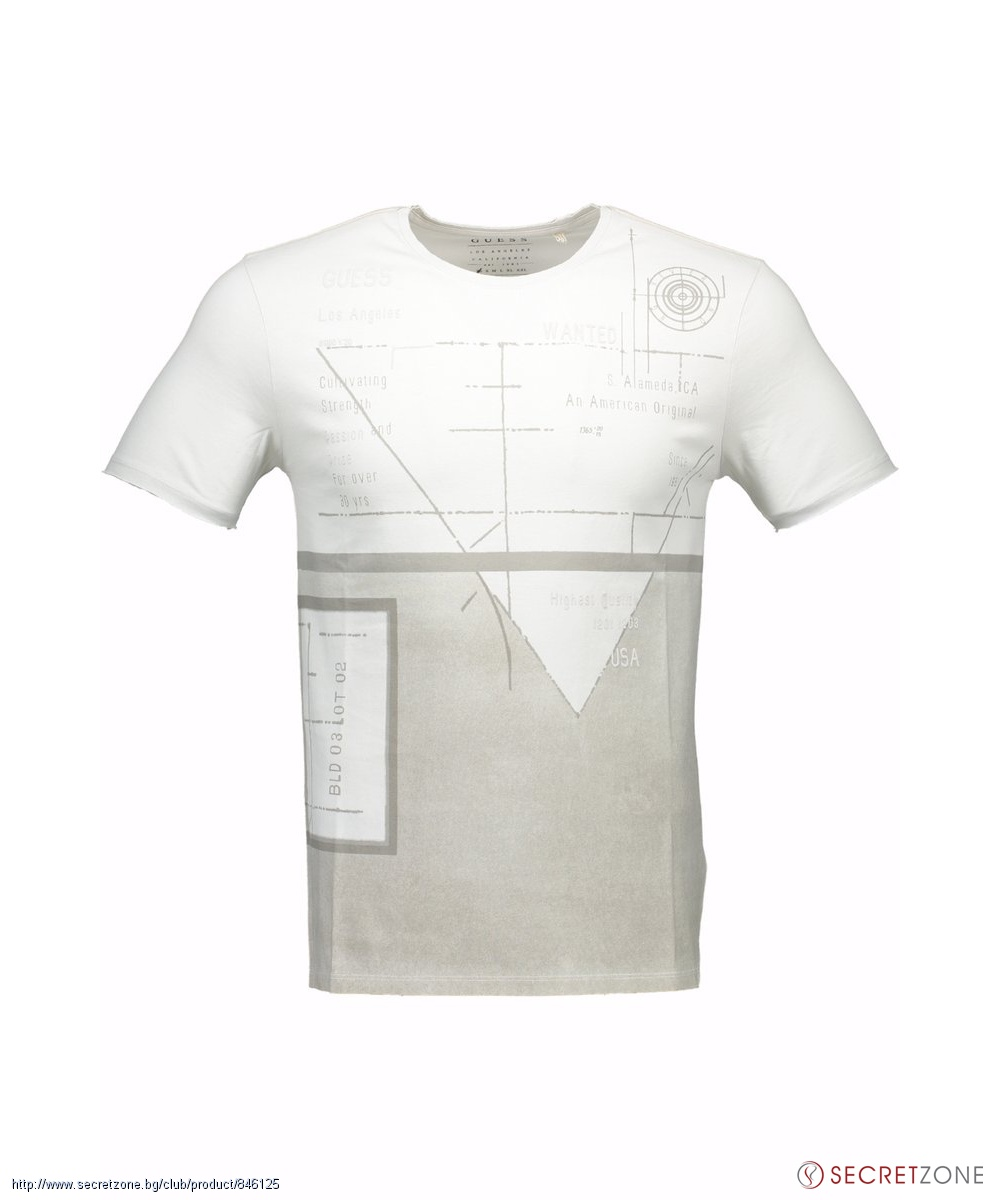 Тениска с принт от Guess в сив нюанс