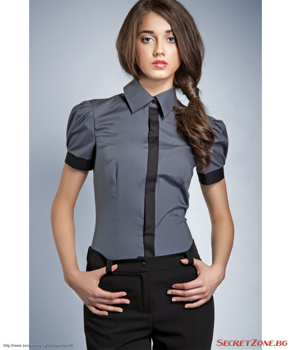 e64cdfcc522 Елегантна дамска риза в сиво и черно | Secretzone.bg