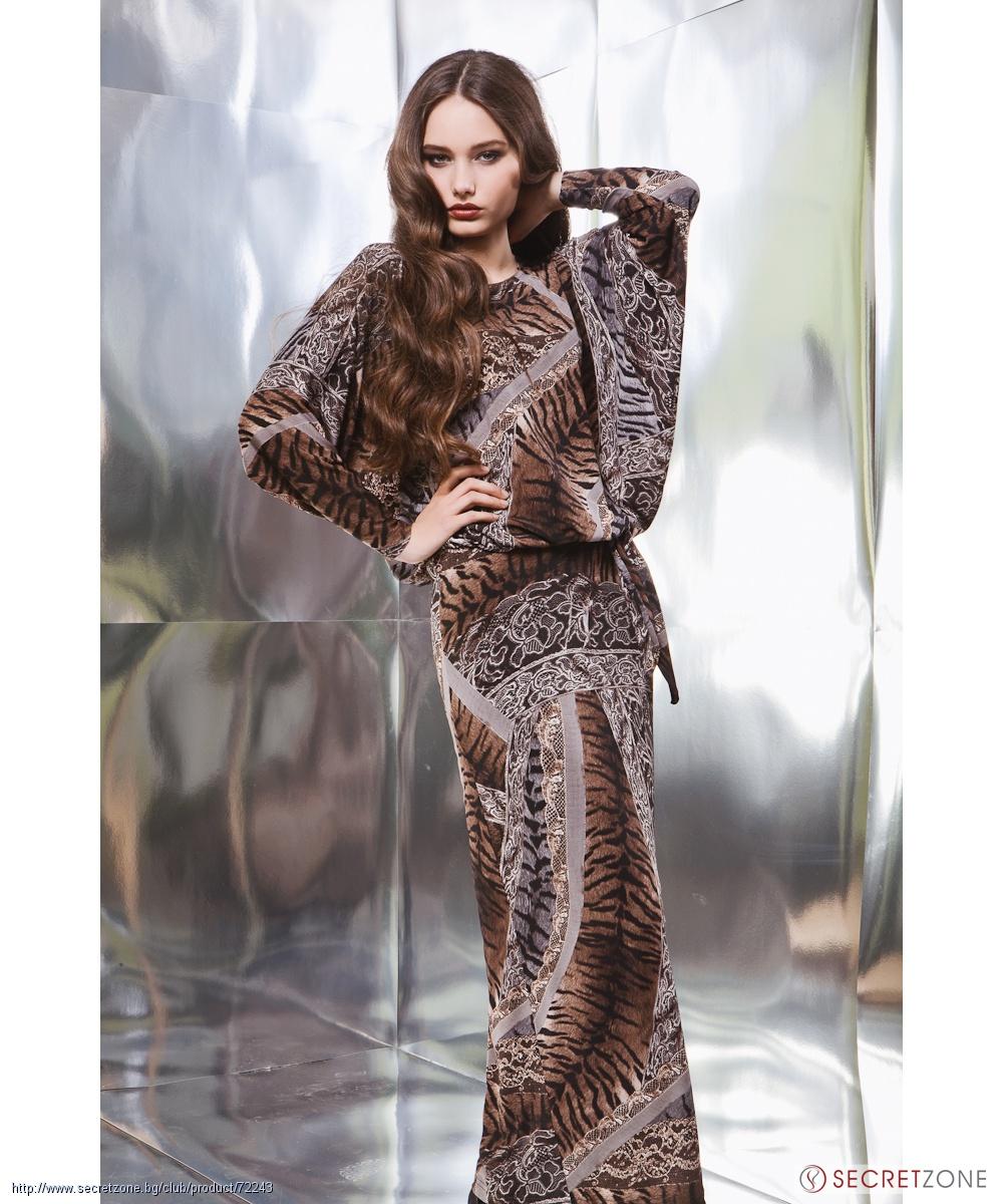 bb233eda167 Дълга рокля с бяла дантела и тигрови мотиви в кафяв нюанс от Top ...
