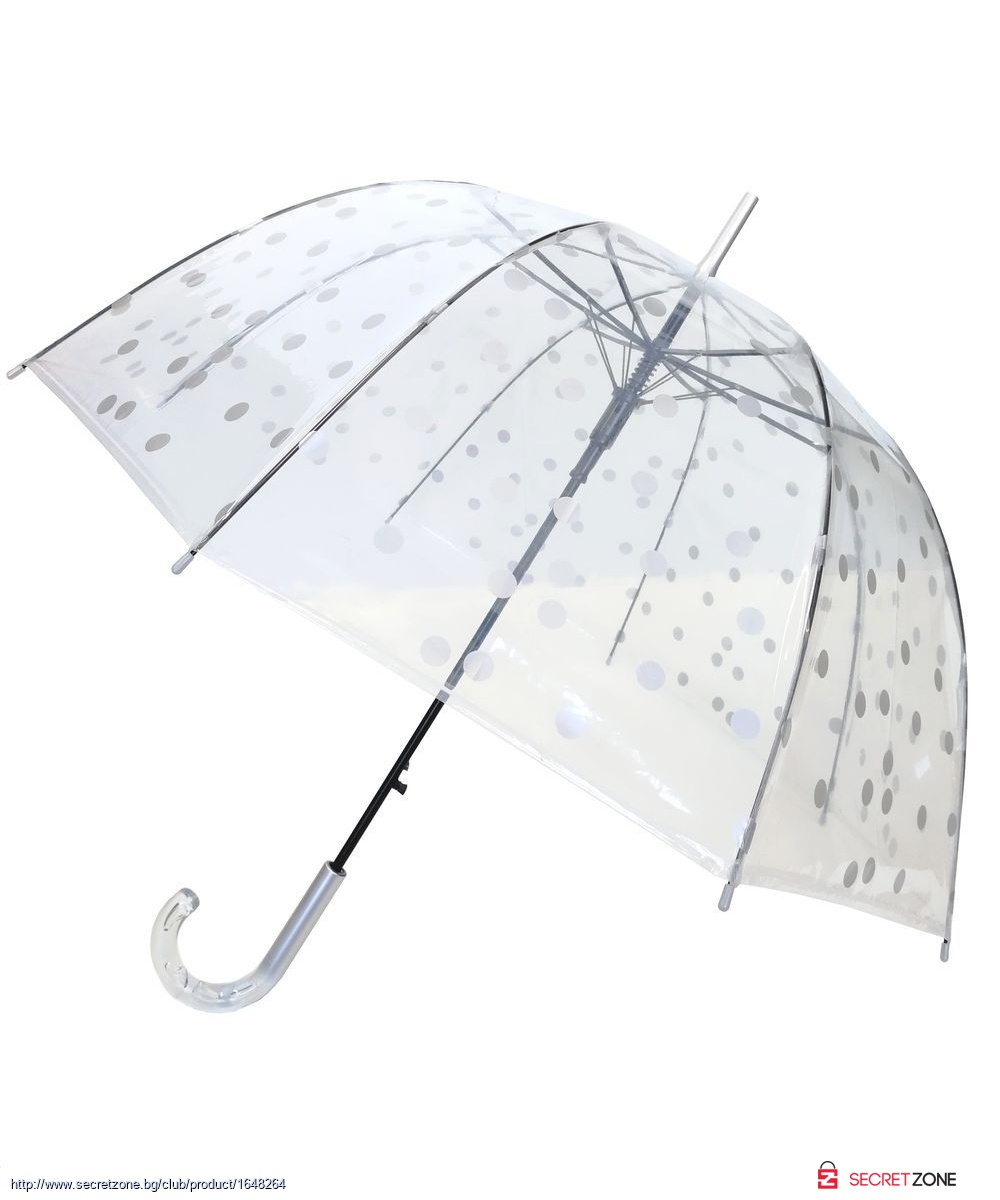 8fd15596cf2 Прозрачен чадър Smati с принт на точки в сребристо   Secretzone.bg