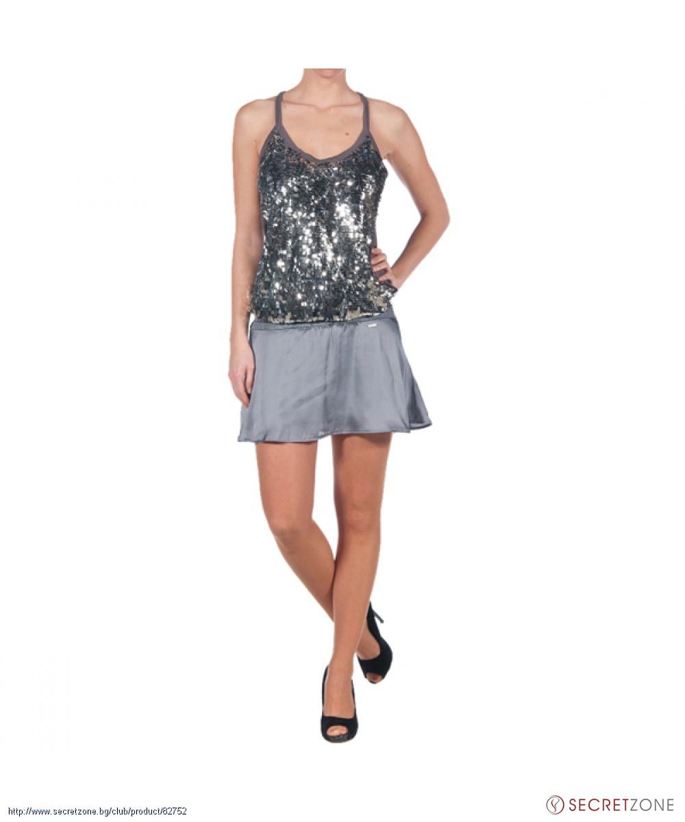 13d2ed07275 Къса рокля с презрамки и пайети в сив цвят от Killah | Secretzone.bg