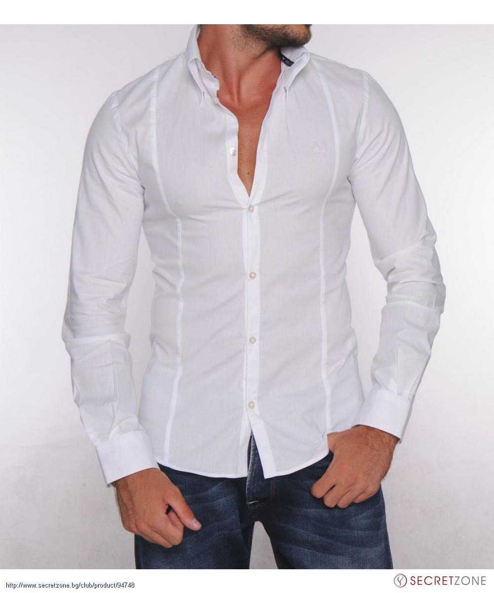 75a3fc5584d Вталена мъжка риза на Armani в бяла гама | Secretzone.bg