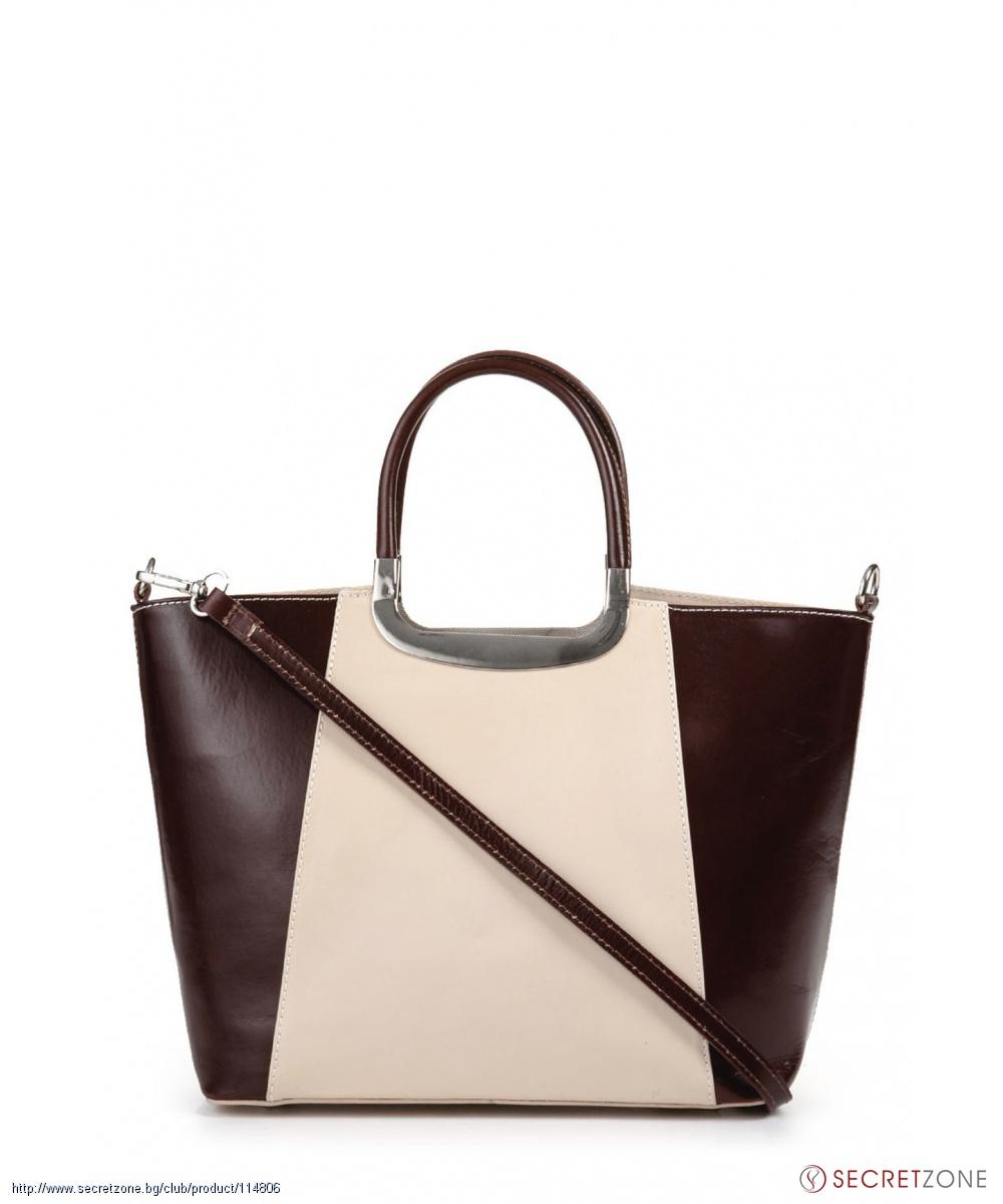 fd9c6fc5460 Стилна кожена чанта в кафяво и цвят крем от Giulia | Secretzone.bg
