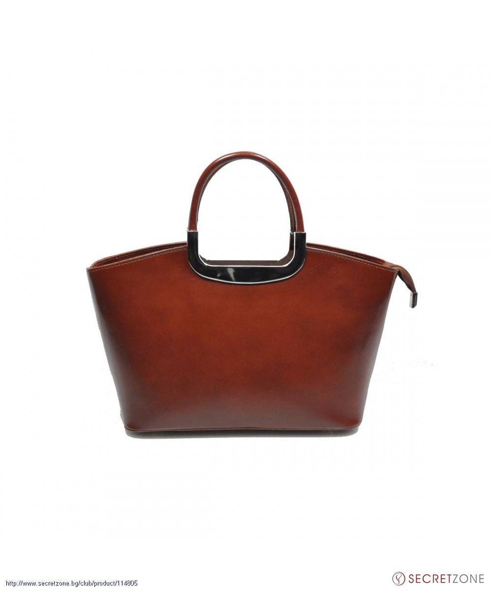 a2be37aa4a5 Елегантна кафява чанта Giulia от естествена кожа | Secretzone.bg