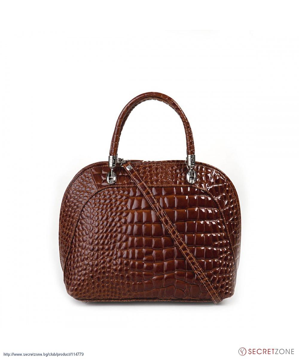 191a19f08a1 Кафява дамска чанта Giulia с ефект крокодилска кожа | Secretzone.bg