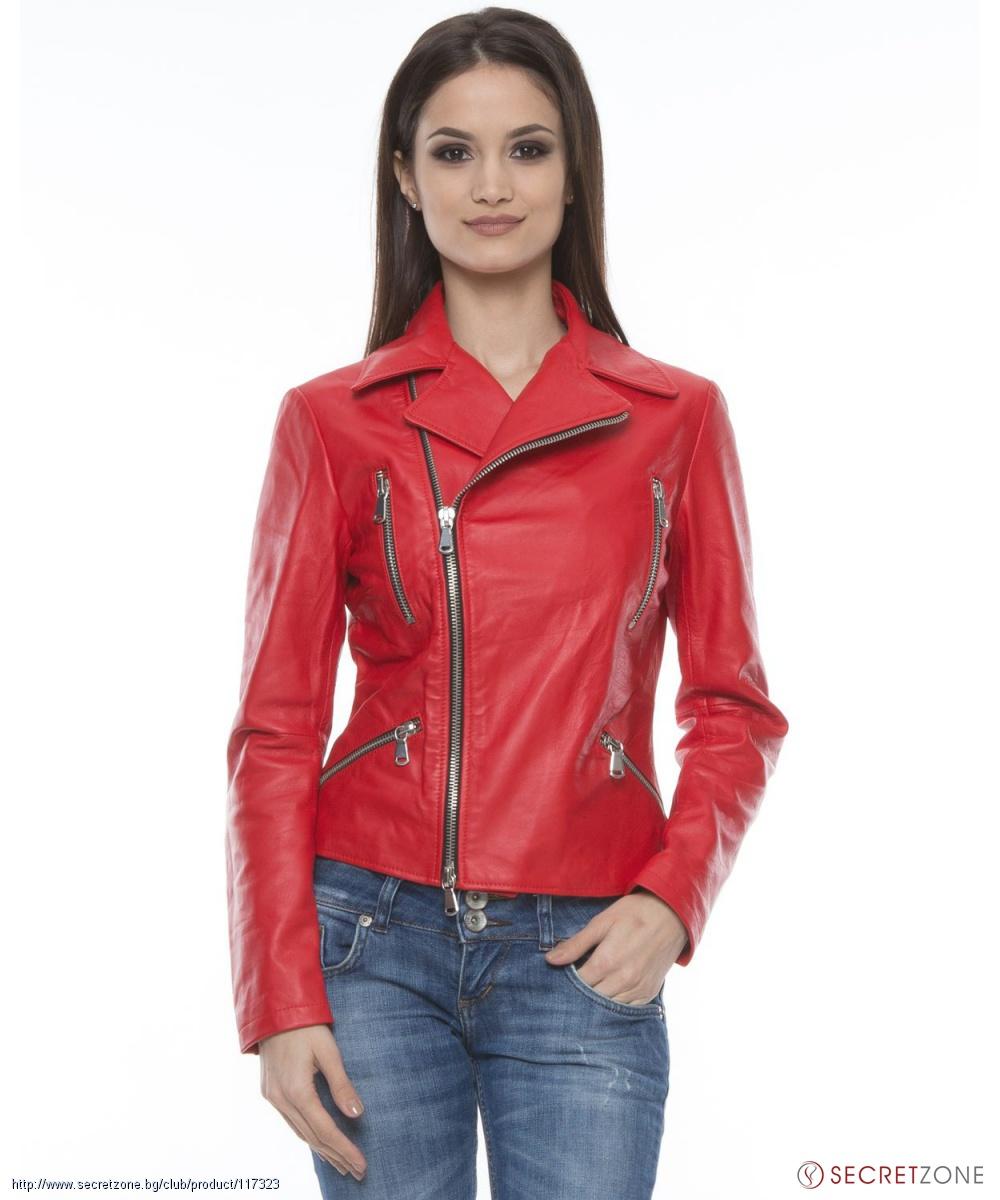 beed51fa2c5 ... Дамско кожено яке в червен цвят с ефектни ципове от Mangotti. undefined
