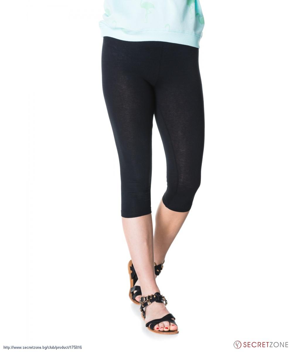 b43409a3677 ... Панталони; Дамски памучен клин с 3/4 дължина в черен цвят от Moodo.  undefined