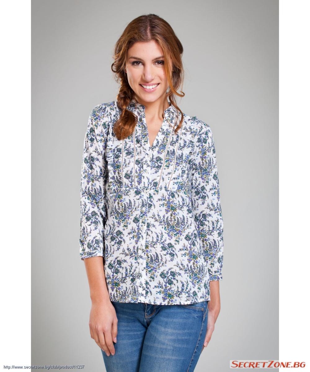 407abda2d74 Бяла дамска риза Pepita Perez с принт на диви цветя | Secretzone.bg