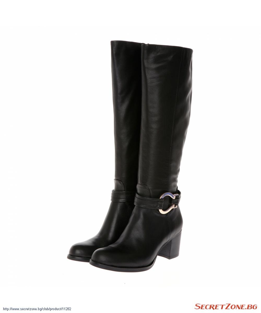 de1a2673246 Оригинални дамски ботуши от фина естествена кожа в черен нюанс ...