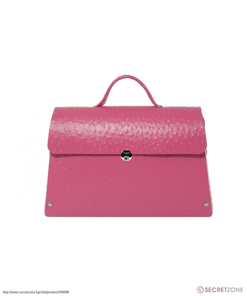 4ee70349951 Бизнес чанта в цвят циклама с щраусов ефект от Almini Milano ...