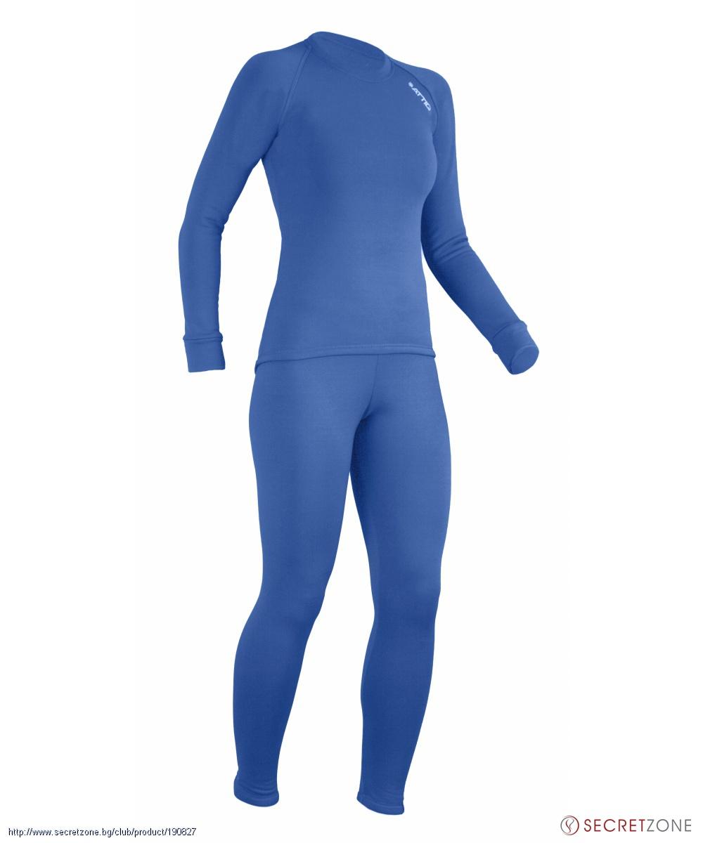 d027b0b9c90 ... Спортен дамски термо комплект Attiq от блуза и клин в син цвят.  undefined