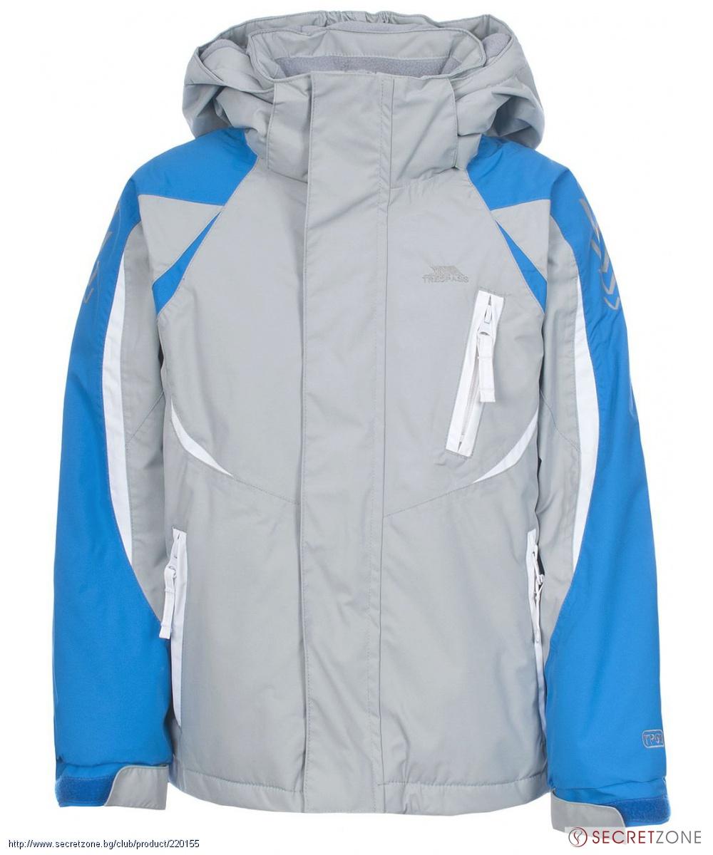 03b86ba7f41 Ски яке TP50 от Trespass за момчета в сиво с бели и сини акценти ...