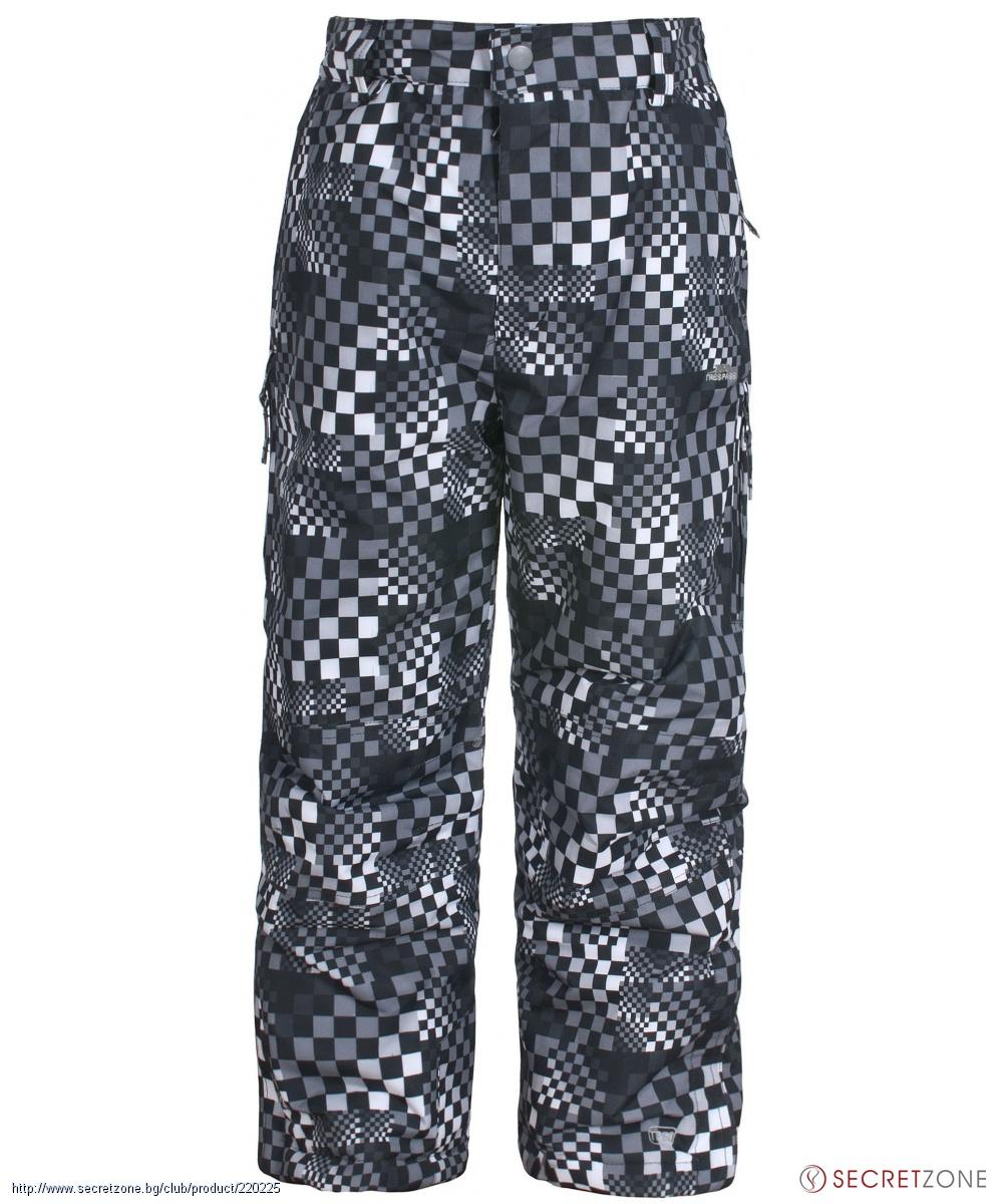 91dbd6bc724 Панталони; Детски ски панталон TP50 с геометричен принт в черна гама от  Trespass. undefined