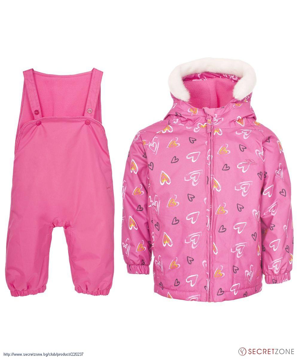 e101e67c51d Комплекти; Бебешки ски комплект TP50 в розов цвят с принт сърца от Trespass.  undefined
