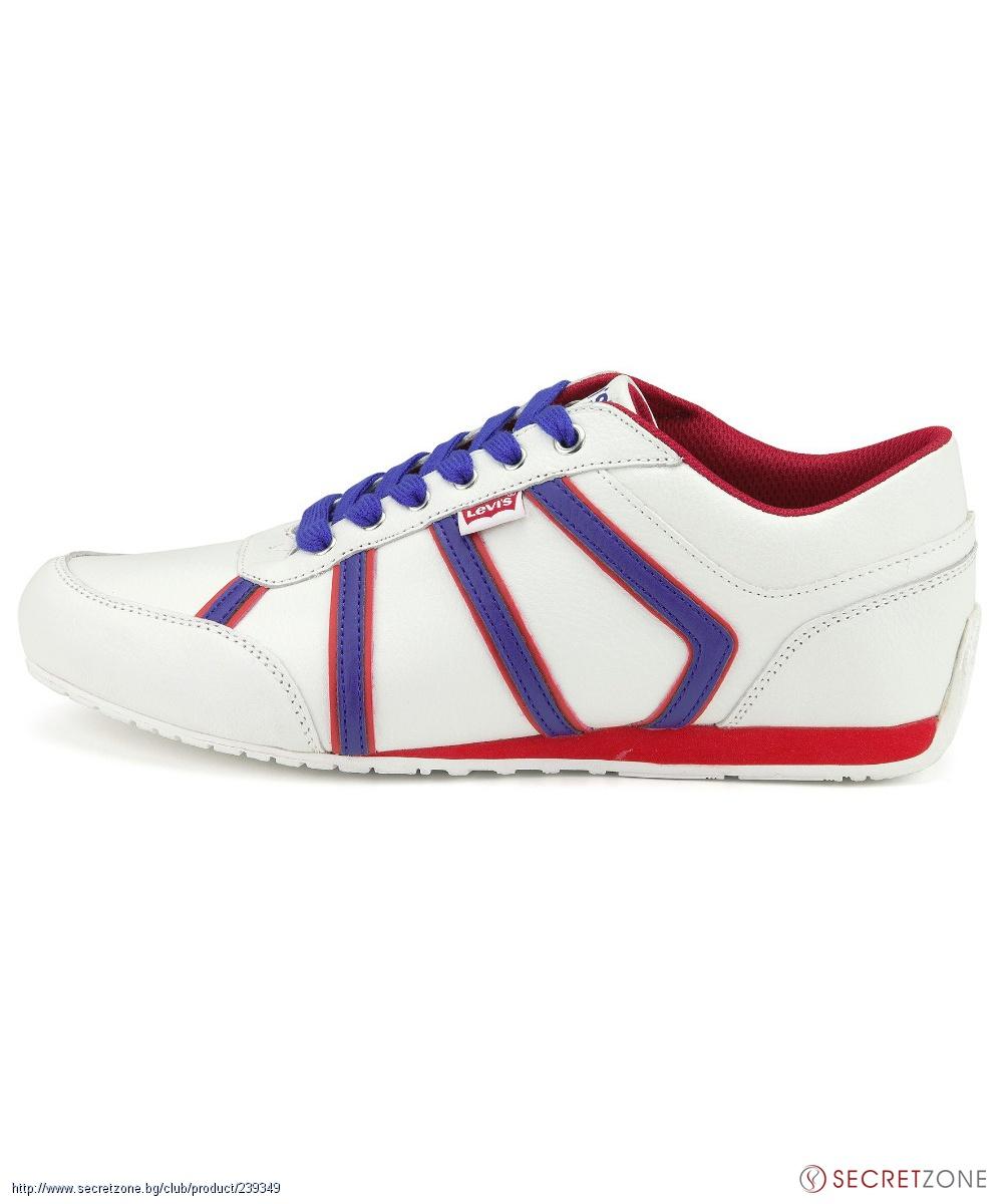 d7e2d09db51 Бели мъжки обувки от Levis с червени и сини детайли | Secretzone.bg