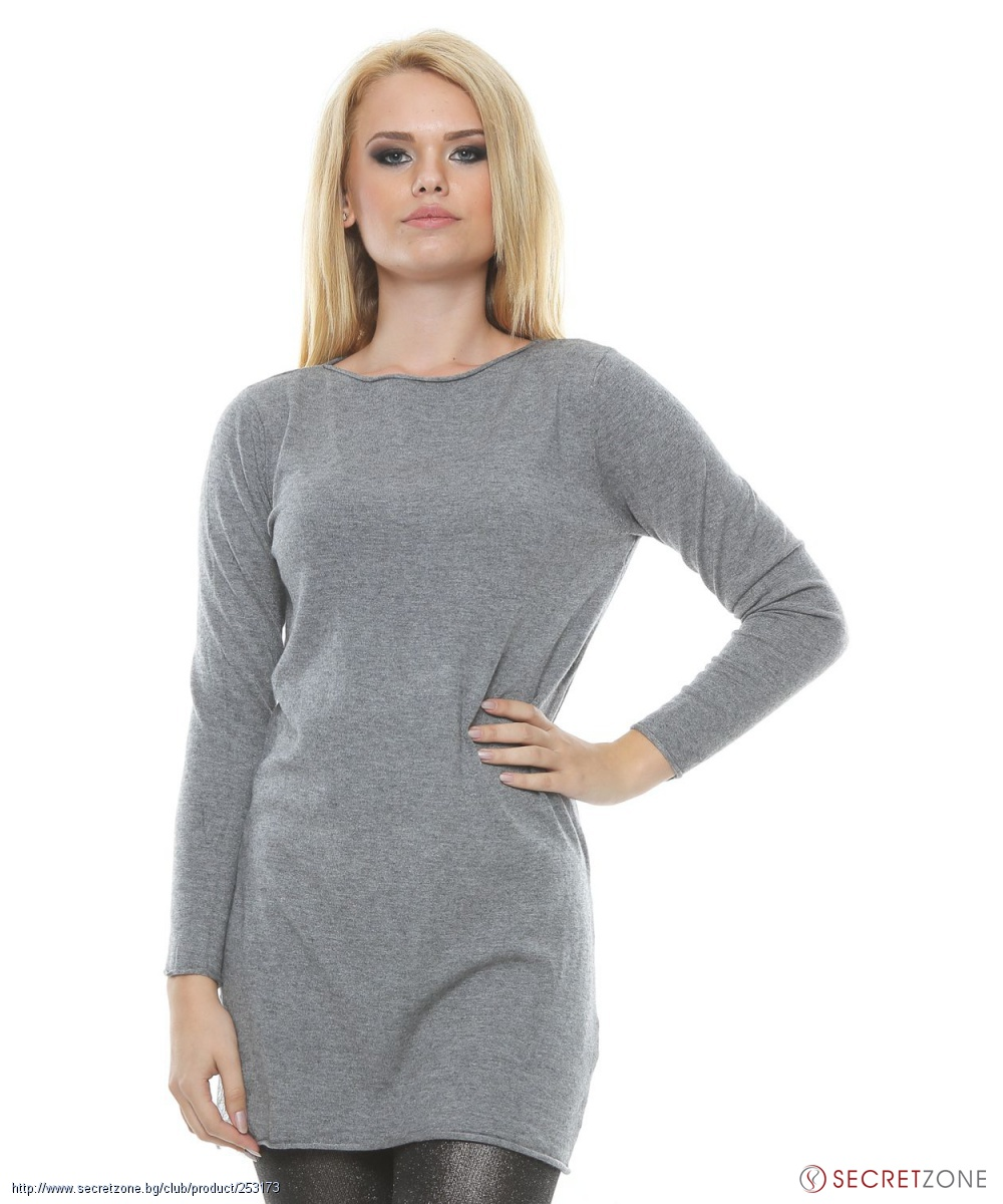 e521d89b695 Дамски дълъг пуловер в сива гама от Isabella Rhea   Secretzone.bg