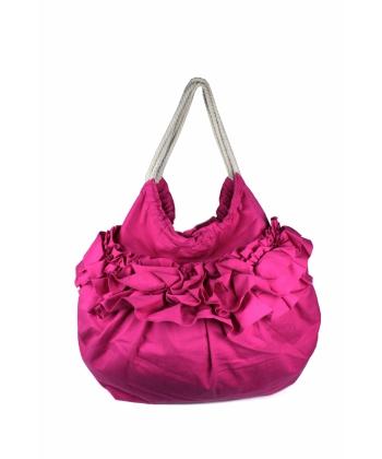 3d1c05fe1ca Цикламена дамска чанта с дизайн на къдрички | Secretzone.bg