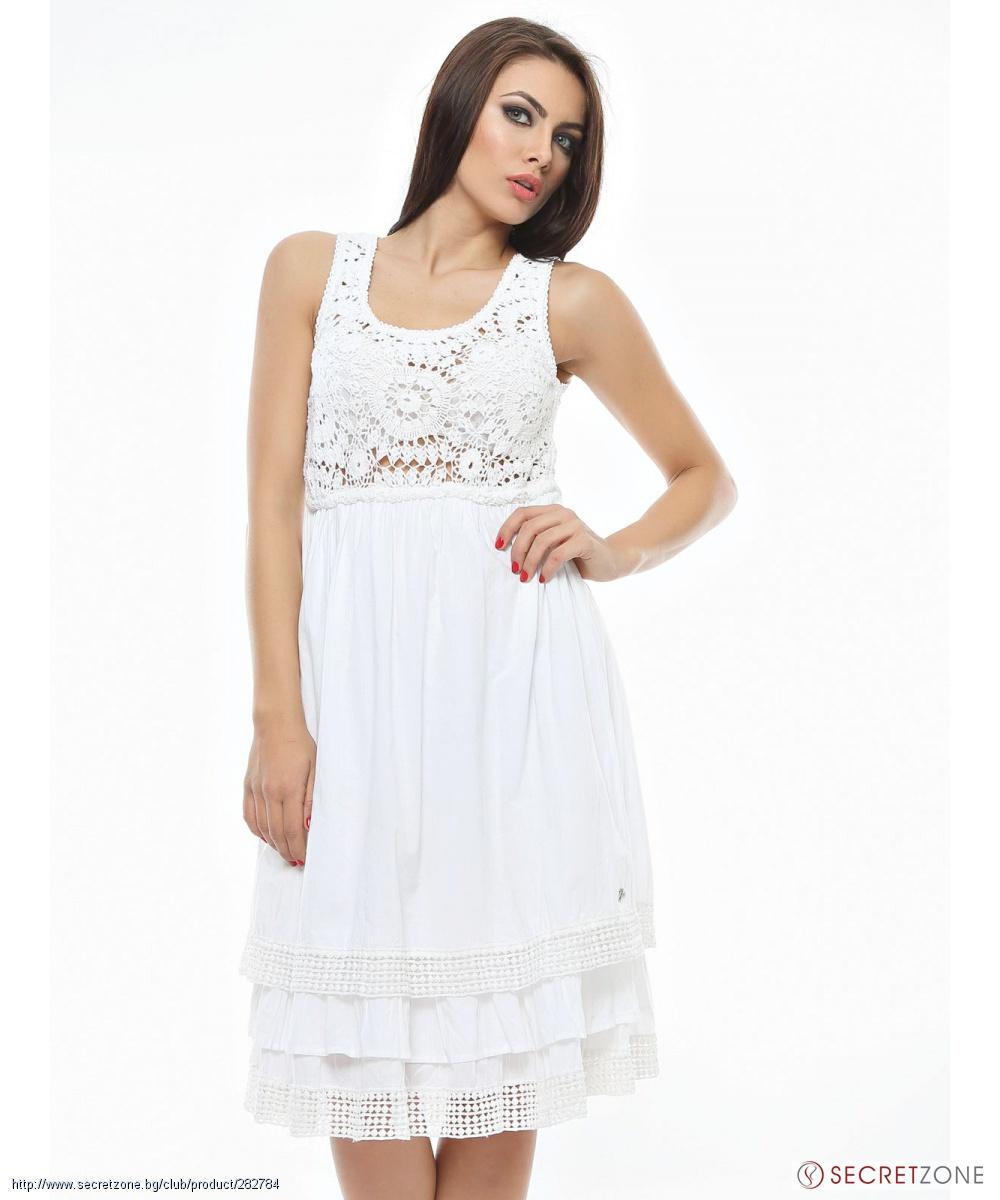 b8f4a9bf3b5 Бяла памучна рокля с ажурна плетена дантела от Gas | Secretzone.bg