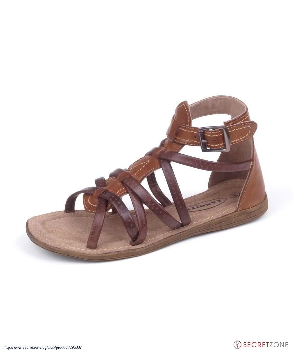 d95925fbf75 Кожени дамски сандали в кафяво с каишки от Lanqier | Secretzone.bg