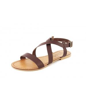 dd5a354f73c Кафяви кожени сандали с тънки каишки от Miss Butterfly | Secretzone.bg