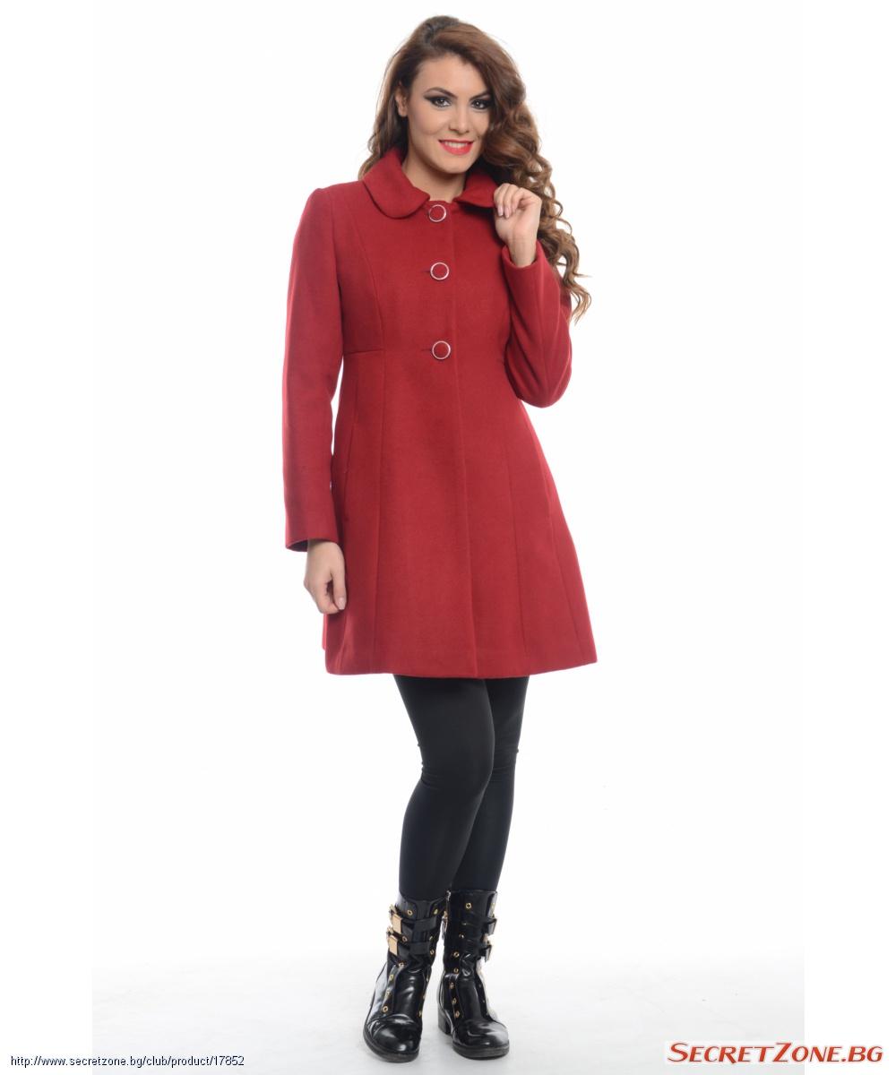 11ccd1bef51 Страхотно дамско палто в цвят бордо | Secretzone.bg