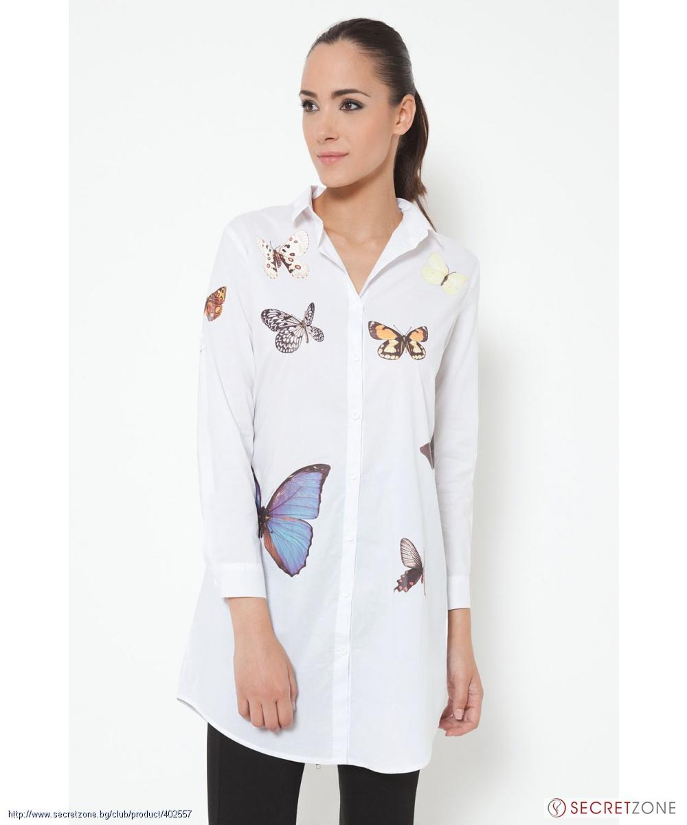 2848387128c Дълга бяла риза с принт на цветни пеперуди от Tantra | Secretzone.bg