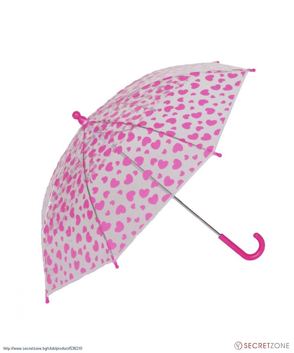 e72354bde82 Чадъри; Прозрачен детски чадър от Impliva с принт на розови сърца. undefined
