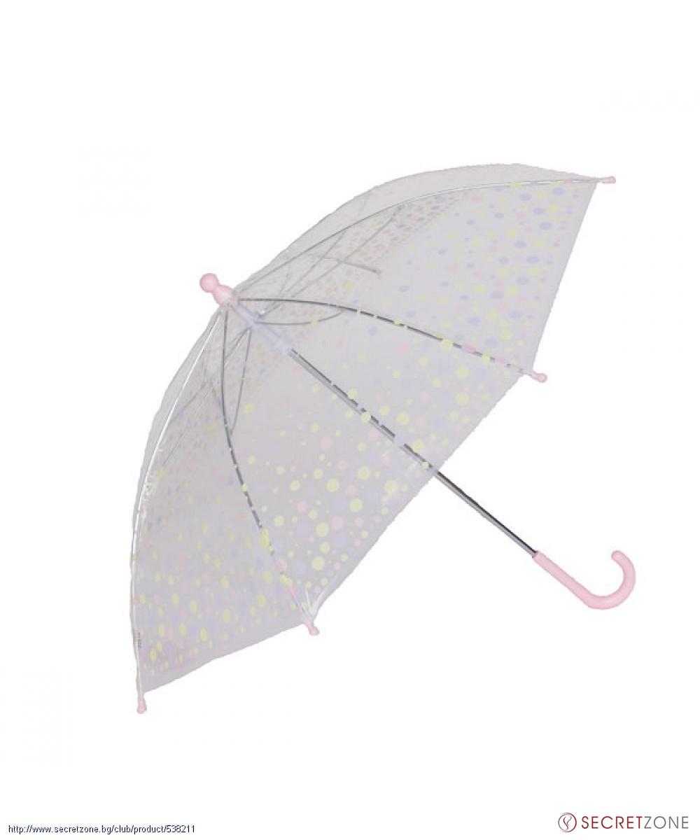ca608212f6f ... Прозрачен детски чадър на точки в бледо розово от Rainy Days. undefined