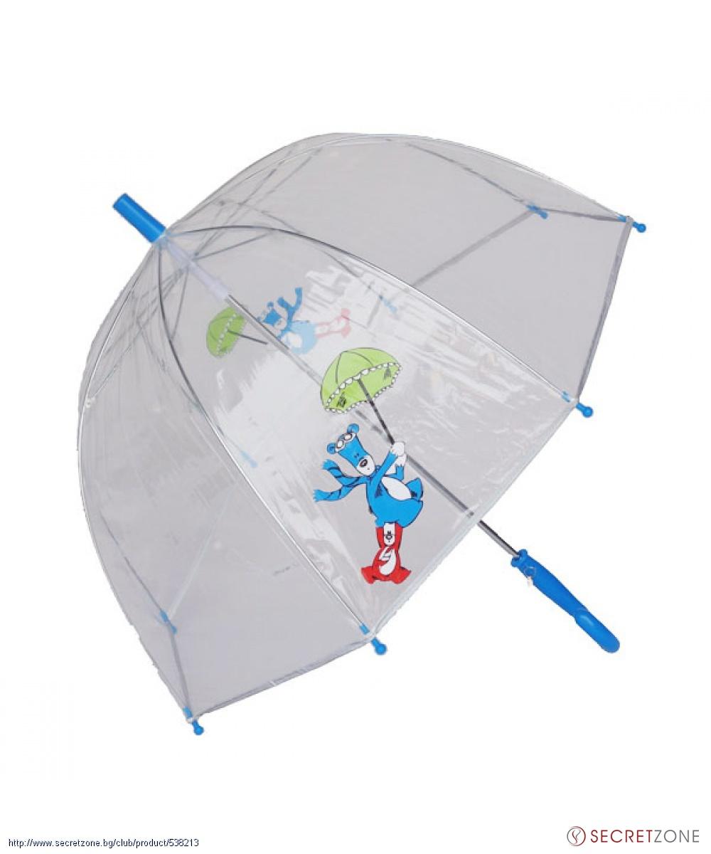 b262376a17d Чадъри; Прозрачен детски чадър с принт и сини детайли от Susino. undefined