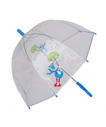 e87eaeedbe4 Прозрачен детски чадър с принт и сини детайли от Susino   Secretzone.bg