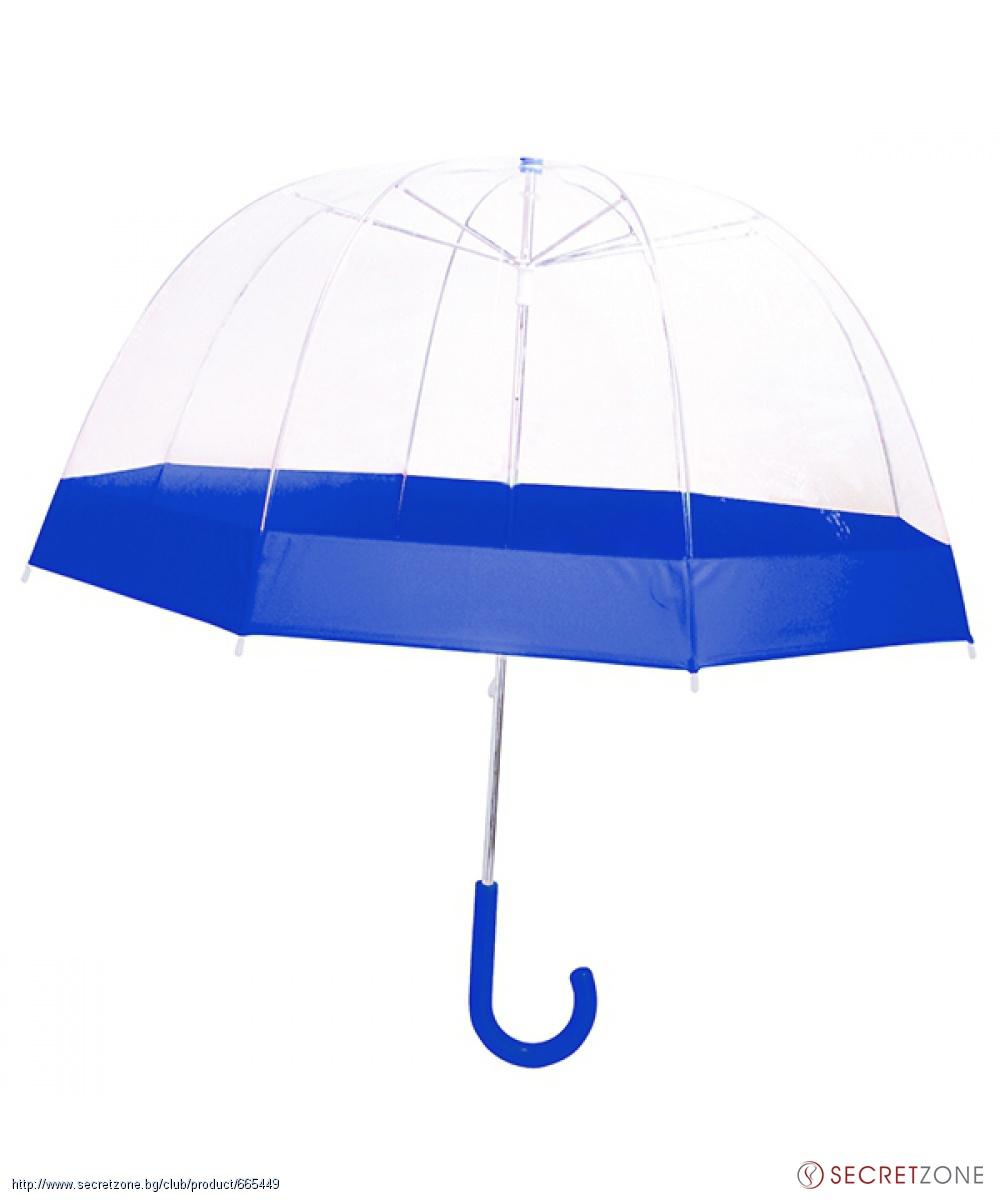 1bc0092eb3b Чадъри; Прозрачен чадър със сини детайли от Le Monde du Parapluie. undefined