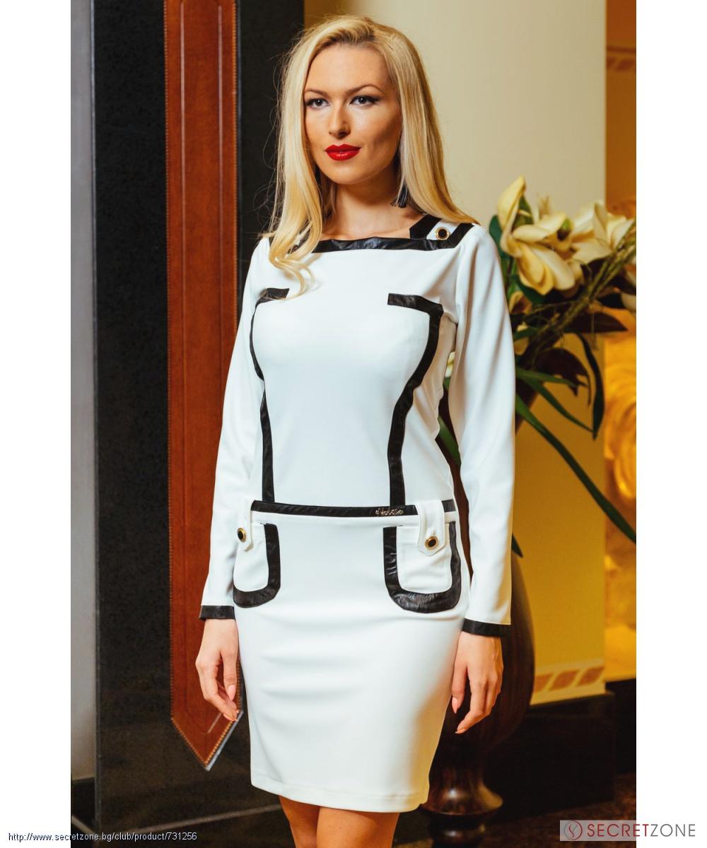 3df0601cc6e Рокля в екрю с черни кожени детайли от Nelita Fashion | Secretzone.bg