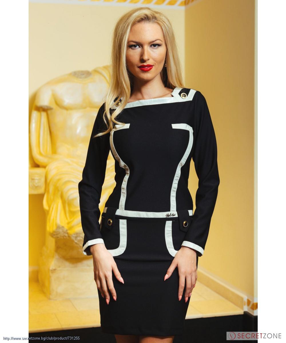 92c496283f1 Черна рокля с кожени детайли в екрю от Nelita Fashion | Secretzone.bg