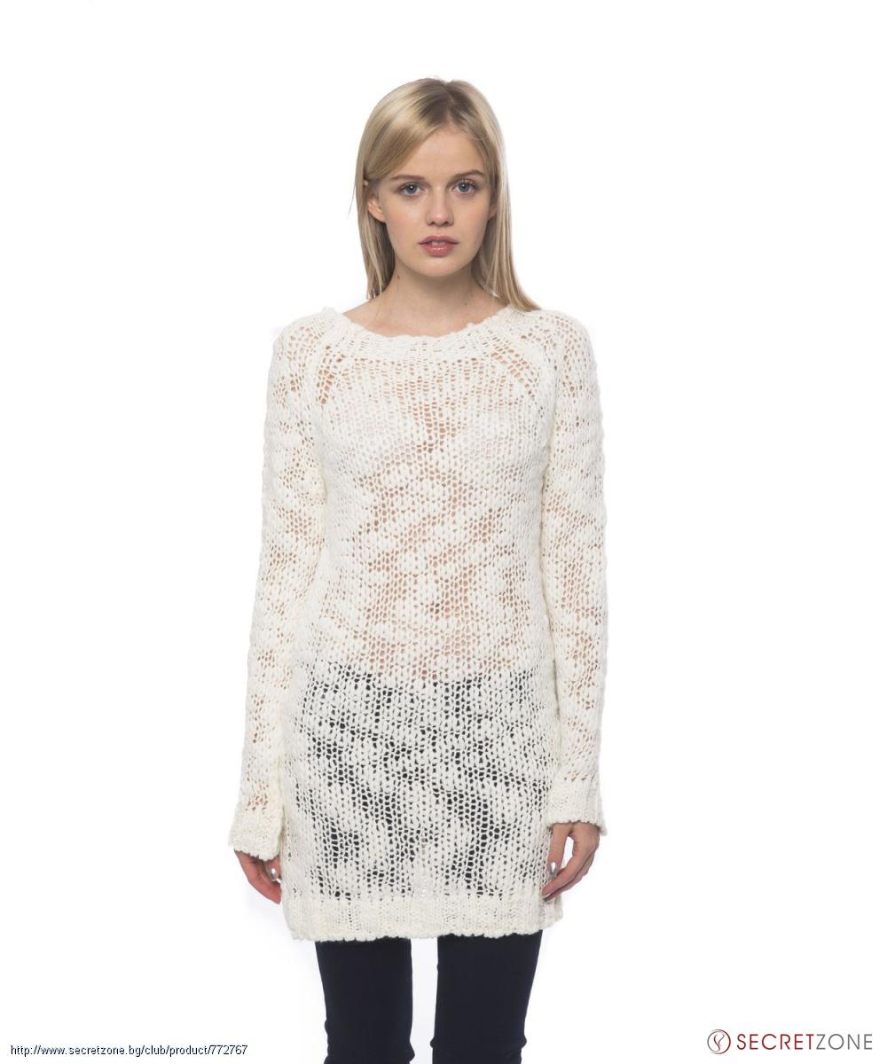 d45290d7b24 Дълъг дамски пуловер в бял цвят от Gas   Secretzone.bg