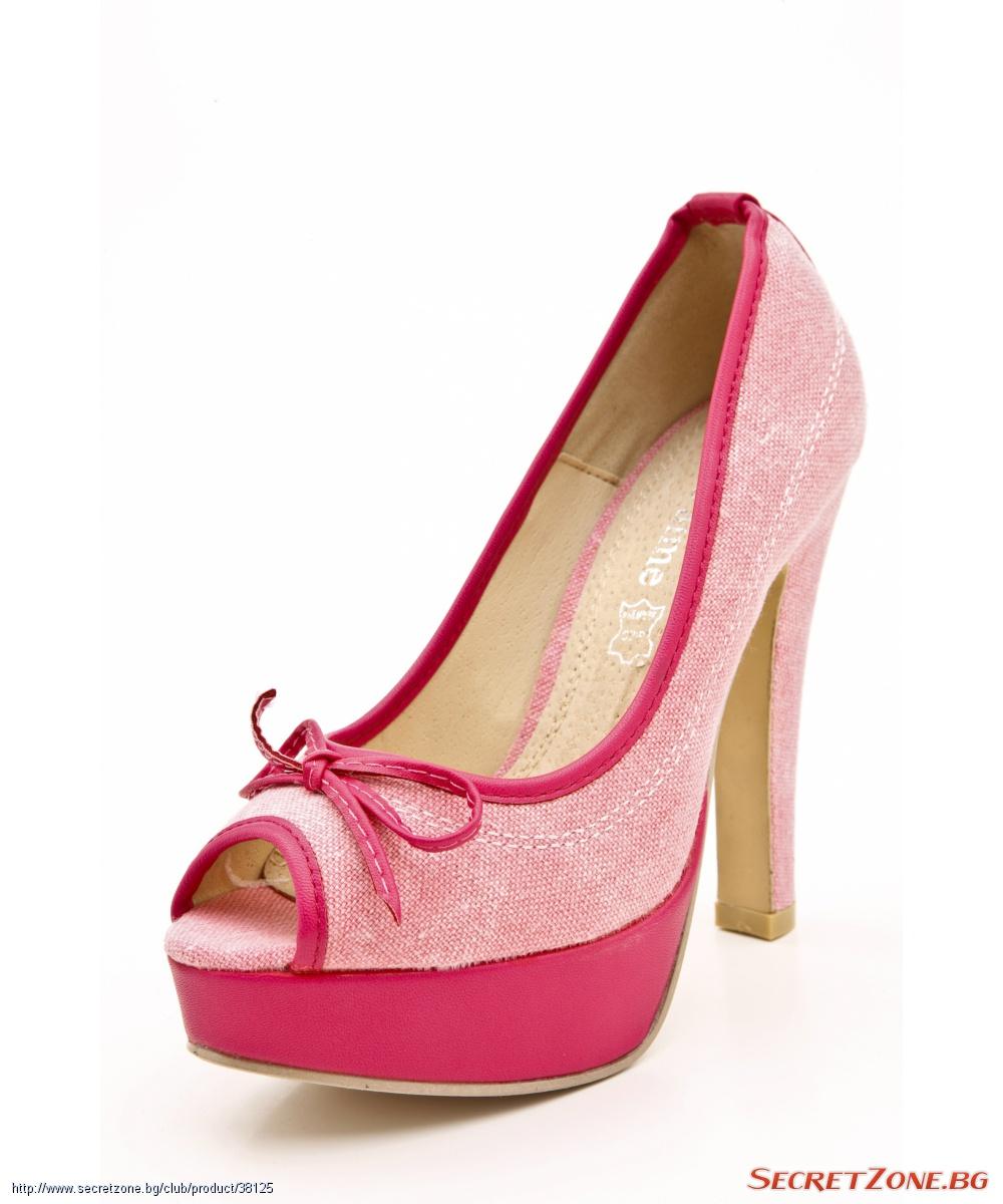 5a51f5cbaa7 Очарователни дамски обувки с платформа и ток в розова гама с кокетна ...