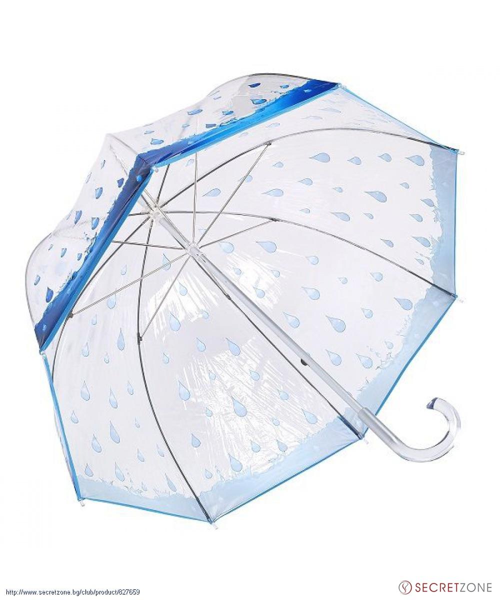 4d2f650d54c Прозрачен чадър с принт на дъждовни капки от Pierre Cardin. undefined