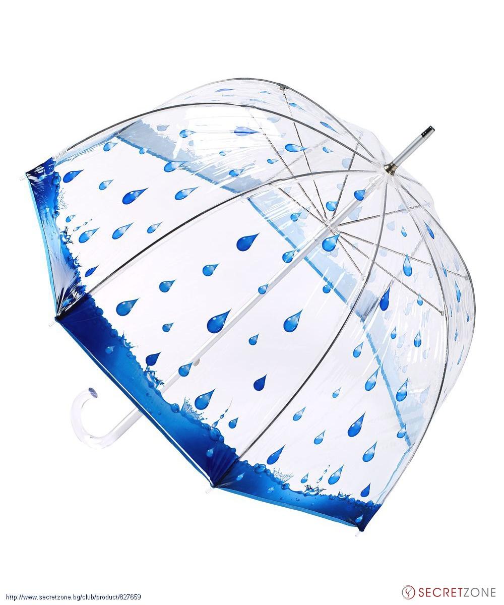 42d5870113b Чадъри; Прозрачен чадър с принт на дъждовни капки от Pierre Cardin.  undefined