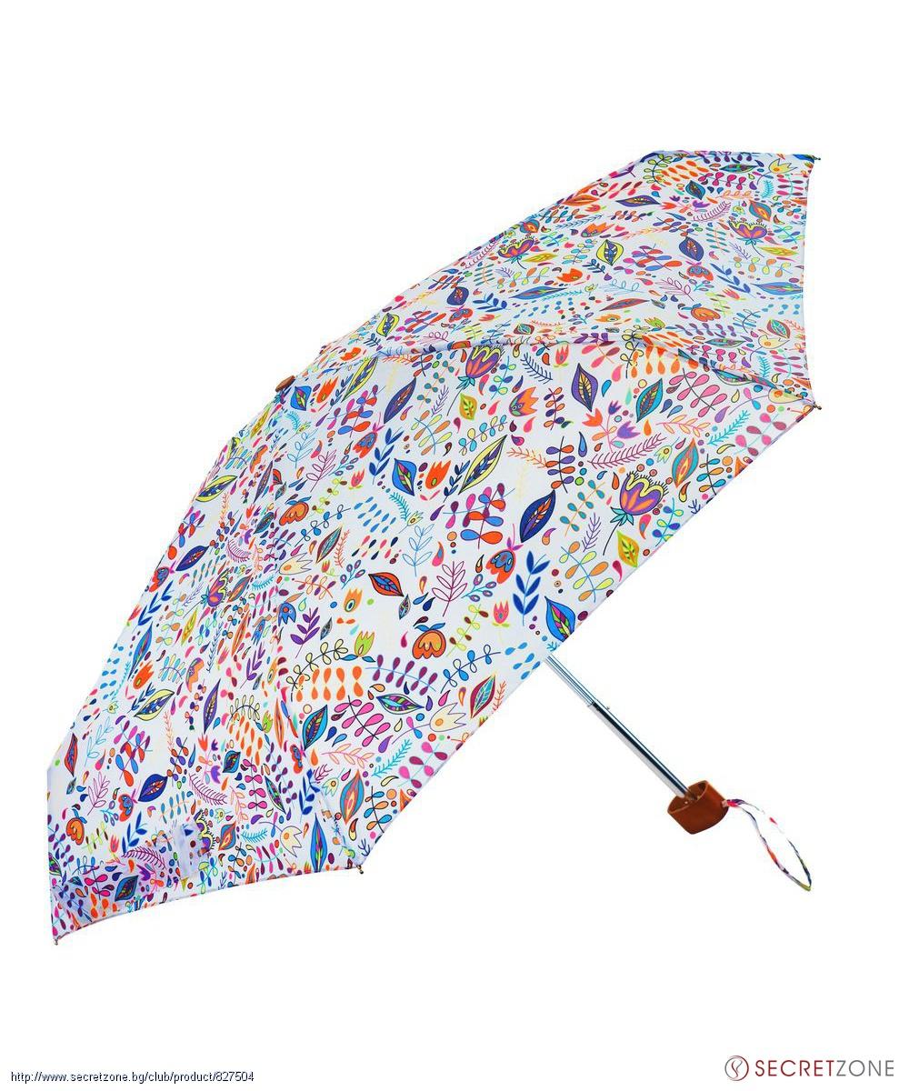 6daa8ccbbb3 Стилен чадър в бял цвят с флорален принт от Susino   Secretzone.bg