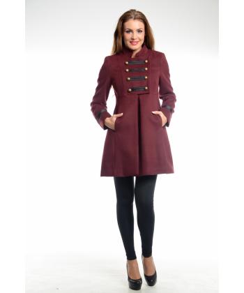 152355a9641 Модерно дамско палто в бордо от Simonette | Secretzone.bg