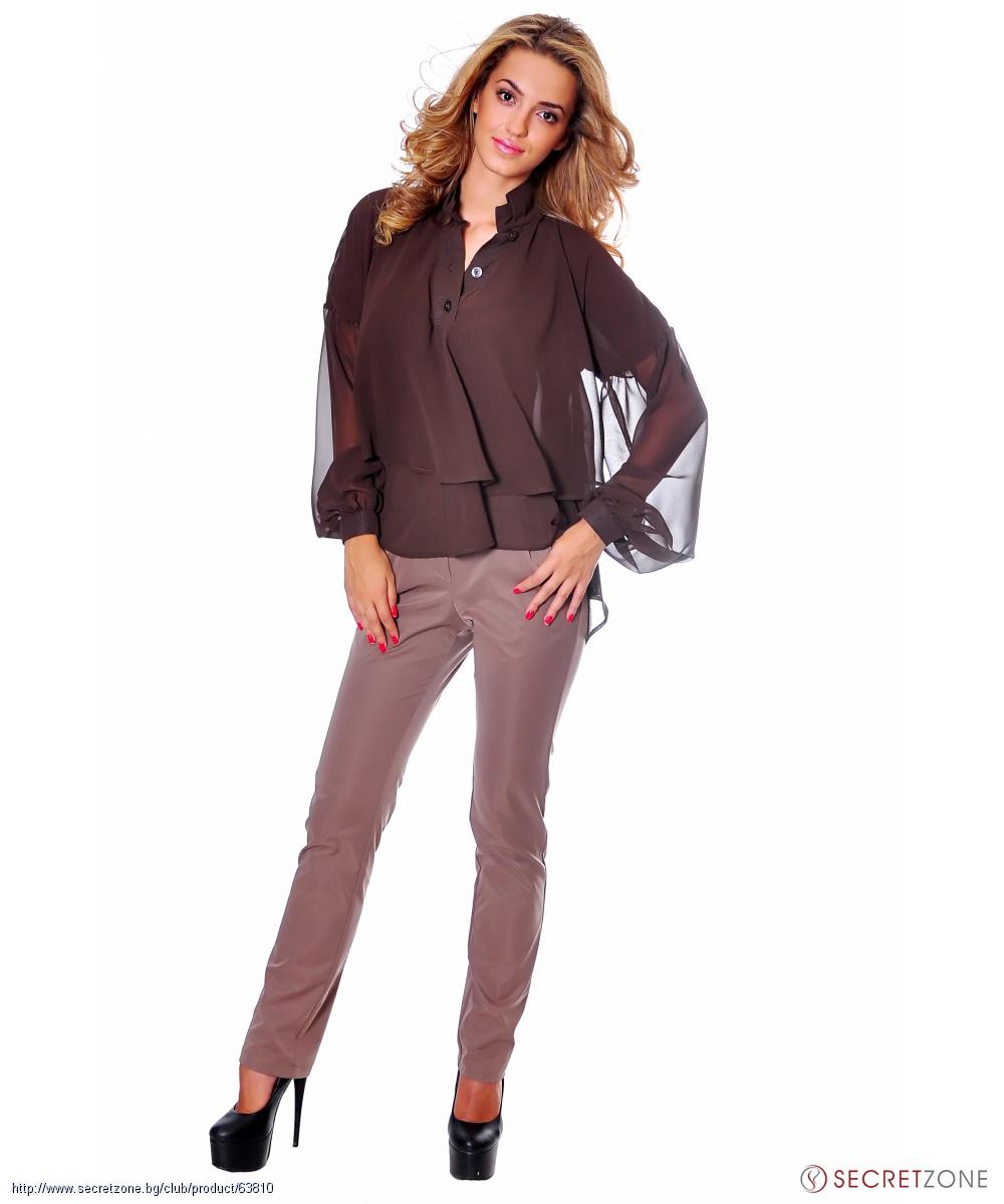 0b8447a1771 Дамска риза в кафяв цвят на волани от Caramella Fashion | Secretzone.bg